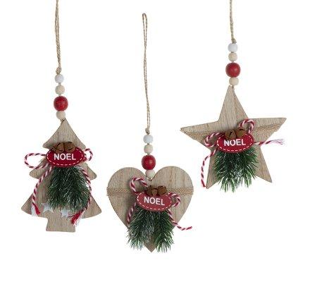 Lot de 3 sujets de Noël nature en bois sapin, étoile et coeur à suspendre 12cm