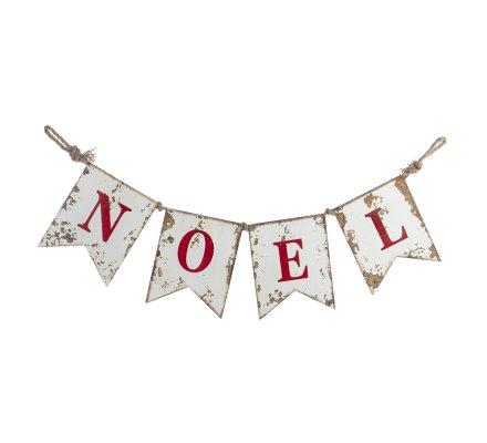 Bannière, ornement lettres Noël en métal effet vieilli et corde 105cm