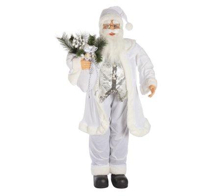 Figurine Père Noël debout grand modèle 120cm coloris blanc