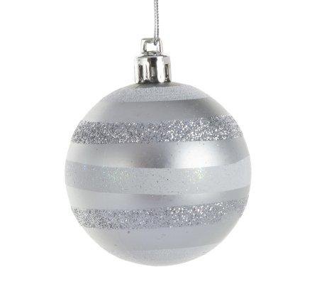Coffret 20 boules de Noël 5 modèles rouges et argent D6cm