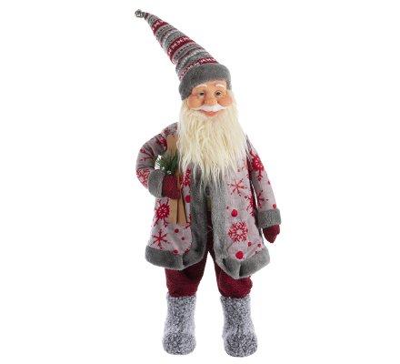 Figurine déco Père Noël debout gris et rouge H80cm