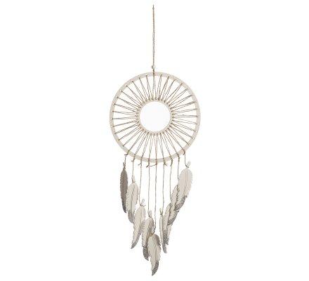 Attrape-rêve déco en bois et ficelle avec plume et paillettes argentées H64cm