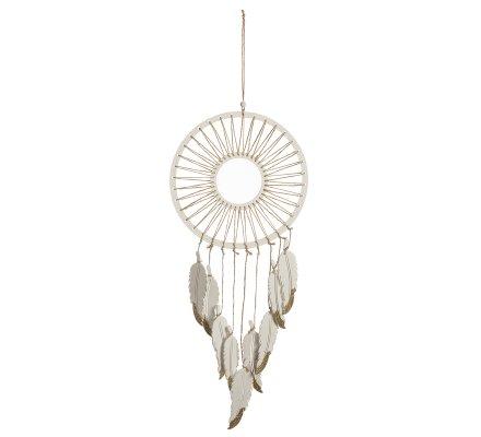 Attrape-rêve déco en bois et ficelle avec plume et paillettes dorées H64cm