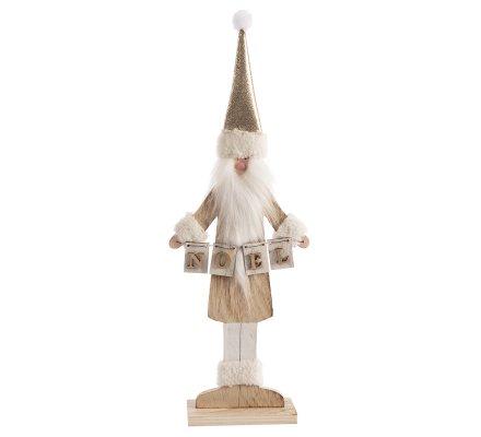 Figurine déco Père Noël en bois sur pied H45cm