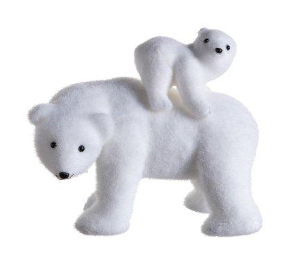 Figurine ours avec ourson blanc décoration de Noël 27cm
