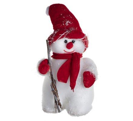 Figurine décorative bonhomme de neige avec écharpe et bonnet rouge H28cm