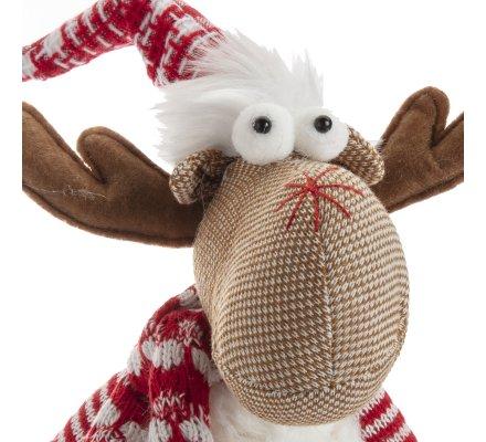 Figurine déco Noël renne debout sur socle bois H33cm