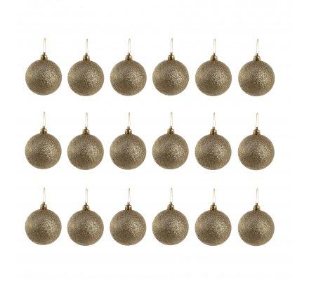 Lot de 18 boules de Noël à pailettes dorées D6cm