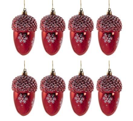 Lot de 8 glands suspension pour sapin rouge avec flocons 11cm