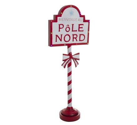"""Pancarte de Noël en métal sur pied à LED """"Bienvenue au pôle Nord"""" H121cm"""