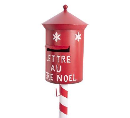 Boite aux lettres sur pied décoration de Noël en métal rouge et LED H122cm