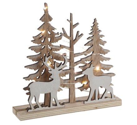 Décoration de Noël nature en bois sapin et rennes avec filament LED