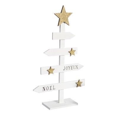 """Sapin déco en bois blanc """"Joyeux Noël"""" avec étoiles dorées 31cm"""