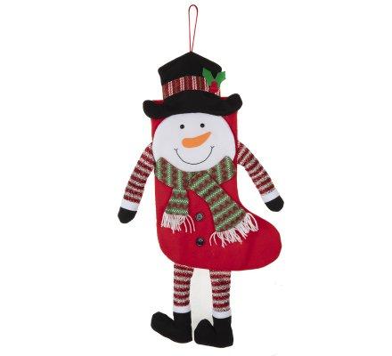 Chaussette de Noël déco à accrocher forme bonhomme de neige H65cm