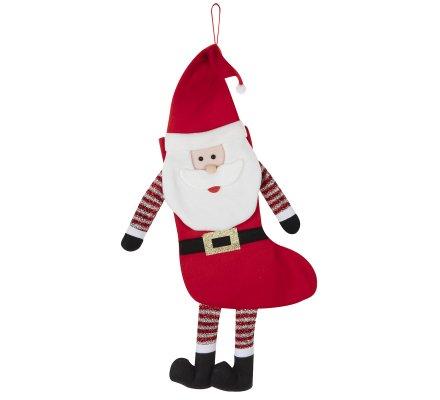 Chaussette de Noël déco à accrocher forme Père Noël H65cm