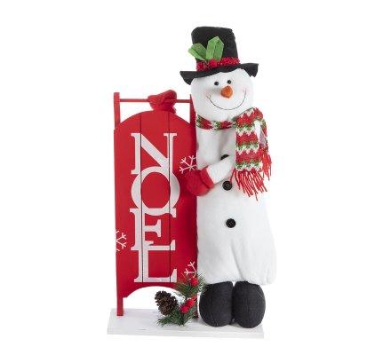 Décoration de Noël, panneau en bois avec bonhomme de neige H64cm