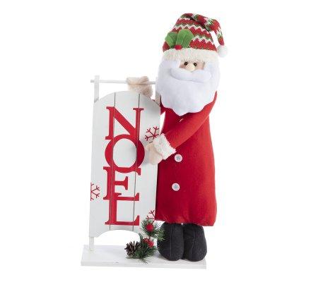 Décoration de Noël, panneau en bois avec père Noël H64cm