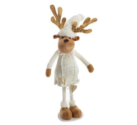 Figurine déco Noël renne debout coloris blanc H52cm