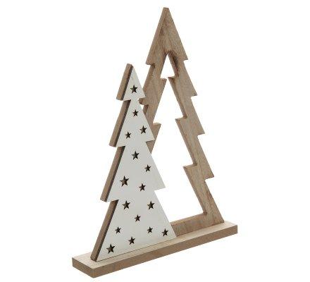 Décoration de noël sapin en bois à poser H32cm
