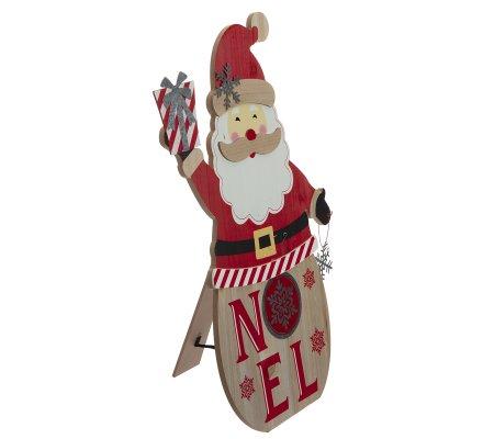 Panneau déco Noël en bois Père Noël H56cm