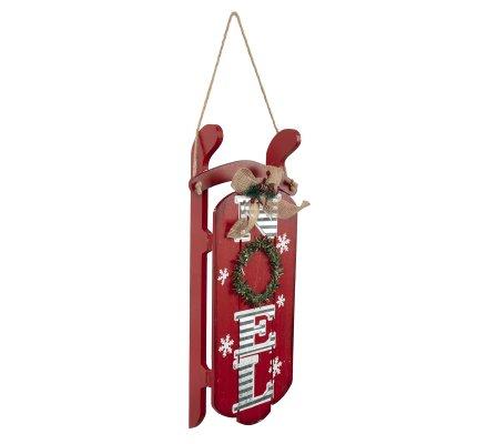 Luge déco Noël en bois rouge à suspendre 40cm