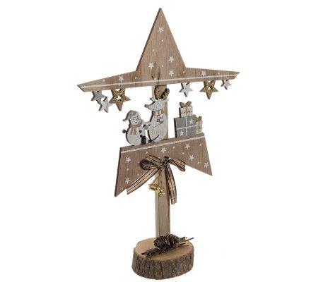 Étoile déco scène de Noël en bois à poser bonhomme de neige H34cm
