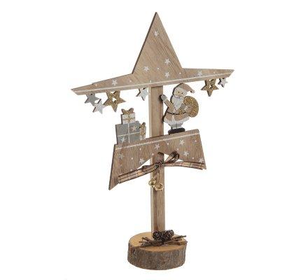 Étoile déco scène de Noël en bois à poser père Noël H34cm