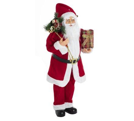 Figurine Père Noël debout décoration grand modèle rouge H110cm