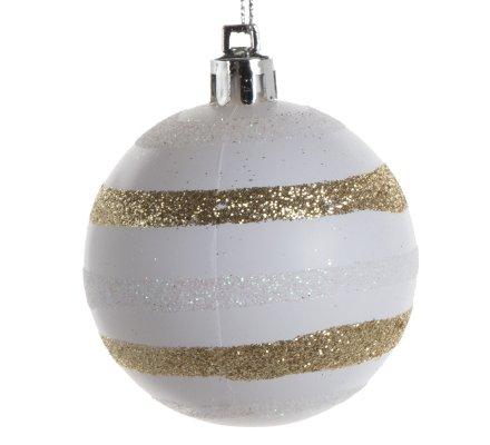 Coffret 16 boules de Noël décoration sapin 4 modèles Blancs D6cm