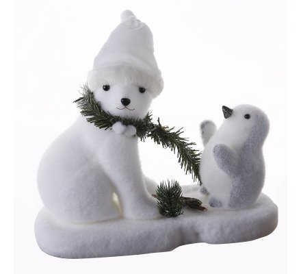 Figurine déco de Noël ours blanc et pingouin sur la banquise 35x16x27cm