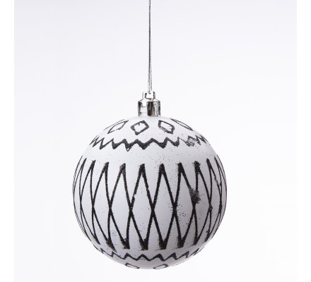 Lot de 12 boules de Noël déco sapin design blanc, noir et doré