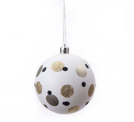 Lot De 12 Boules De Noël Déco Sapin Design Blanc Noir Et Doré