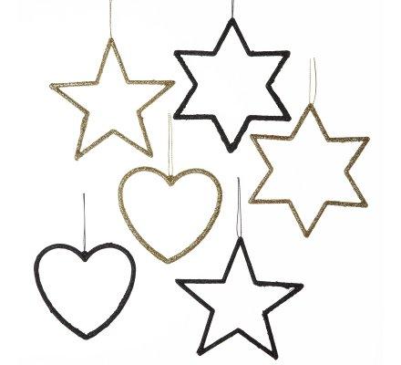 Lot de 6 suspensions déco sapin étoiles et coeur à paillettes noir et or