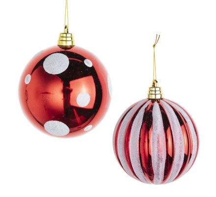 Lot de 2 boules de Noël grande taille D15cm rouge à pois blancs et rouge rayé blanc