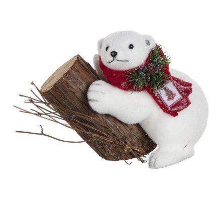 Figurine ours blanc debout sur tronc d'arbre H 23cm