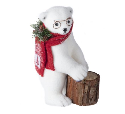 Figurine ours blanc debout avec tronc d'arbre et lunettes H 28cm