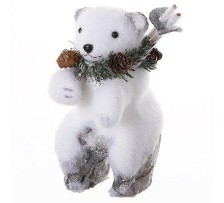 Lot de 2 figurines déco Noël ours et ecureuil blanc avec effet écorce  20x13x19cm