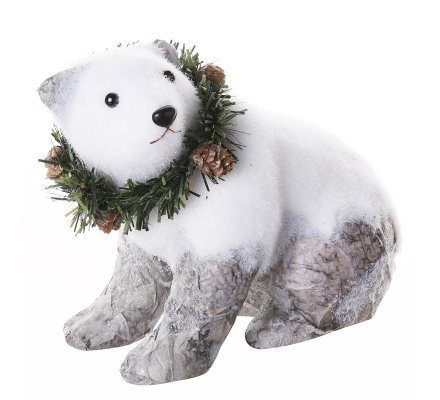 Lot de 3 figurines déco Noël ours blanc avec effet écorce  20x13x19cm