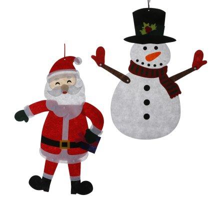 Lot de 2 sujets, décoration père Noël et bonhomme de neige articulés 58cm
