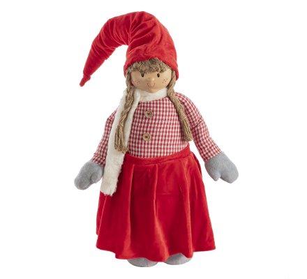 Figurine petite fille décoration de Noël avec jambes extensibles coloris rouge 53-97cm
