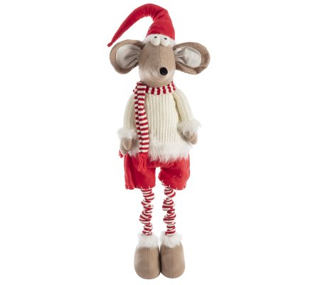 Figurine souris décoration de Noël avec jambes extensibles coloris rouge et blanc 60-103cm