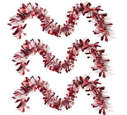 Lot de 3 guirlandes de Noël déco sapin coloris rouge et blanc 200cm