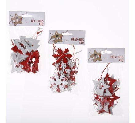 Lot de 30 decorations de noël en bois rouge et blanc à suspendre motif flocon, étoile et sapin