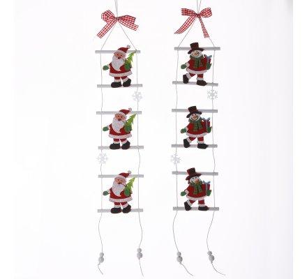 Lot de 2 petites échelles à suspendre avec père Noël et bonhomme de neige 50cm