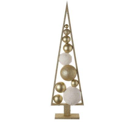 Arbre de Noël design en bois pailleté doré sur pied avec boules déco H70cm
