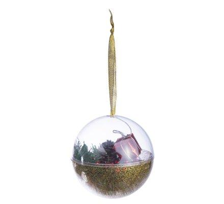 Lot de 4 boules de Noël à garnir soi-même dorées à paillettes D 10cm