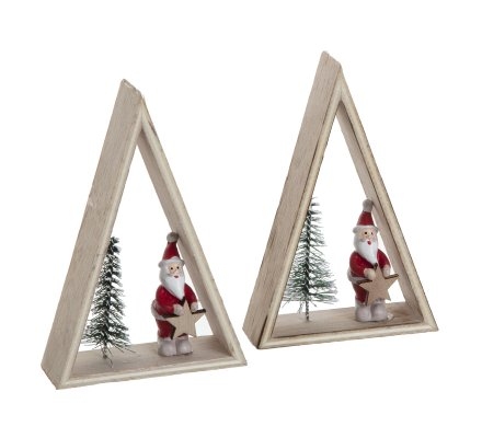 Lot de 2 sujets de Noël forme triangle en bois avec père Noël et sapin 12cm