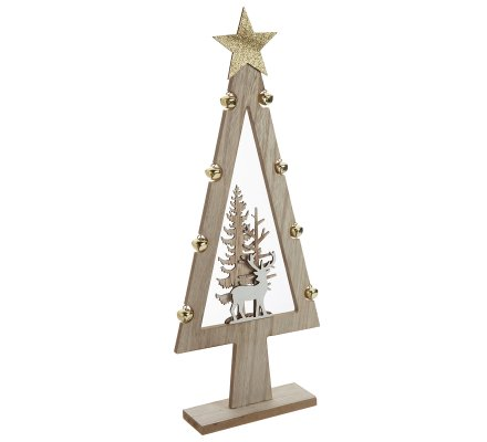 Sapin déco scène de Noël en bois avec grelots H53cm