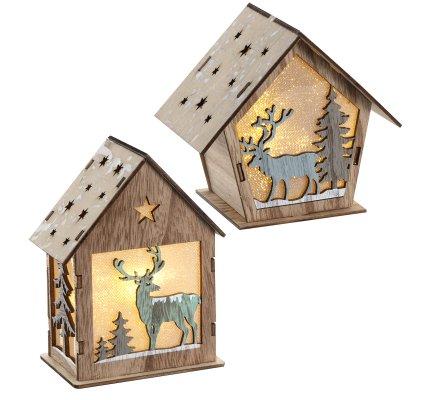 Lot de 2 petits chalets lumineux déco en bois à LED avec renne 13cm