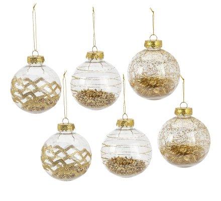 Lot de 6 boules de Noël 3 modèles transparents avec paillettes dorées D8cm